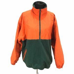 Gap Fleece & Nylon Pullover, Orange, Green, Large